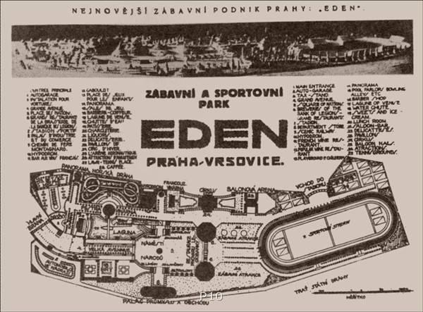 """Eden se rozkládal mezi dnešní křižovatkou vršovické třídy s ulicí Bělocerkevskou a železniční tratí, kolem """"laguny"""", v místech někdejšího rybníčku pod Bohdalcem. Za první republiky do něj, především v neděli, přicházely za rozptýlením hlavně lidové vrstvy. Zajít si se svým děvčetem za zábavou právě sem do Vršovic patřilo doslova k dobrému tónu."""
