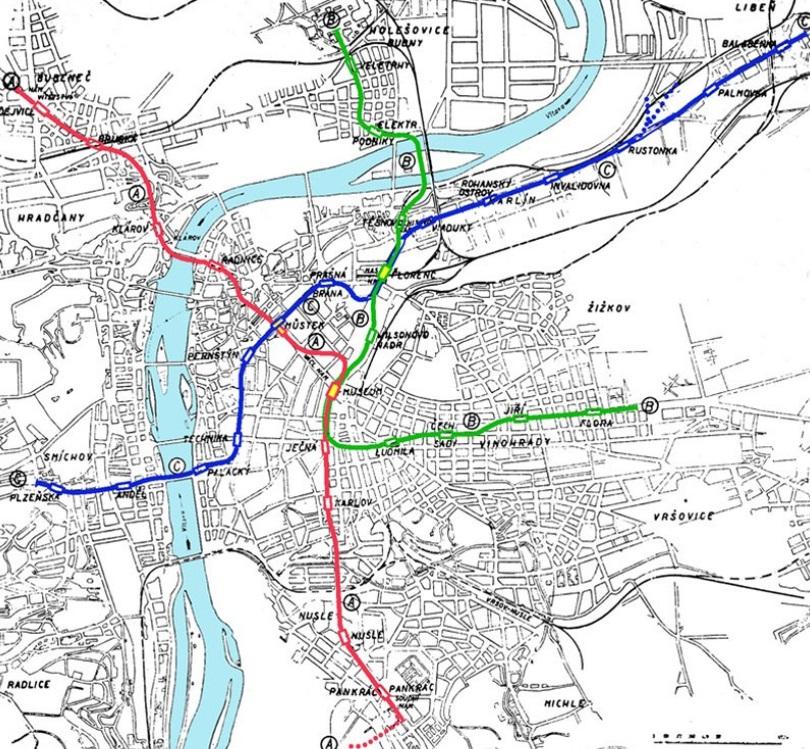 Plán linek předválečného metra - Nákres: archiv MPP