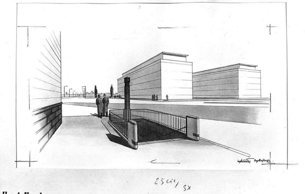 Povrchová úprava stanice metra Nusle - nákres archiv DPP