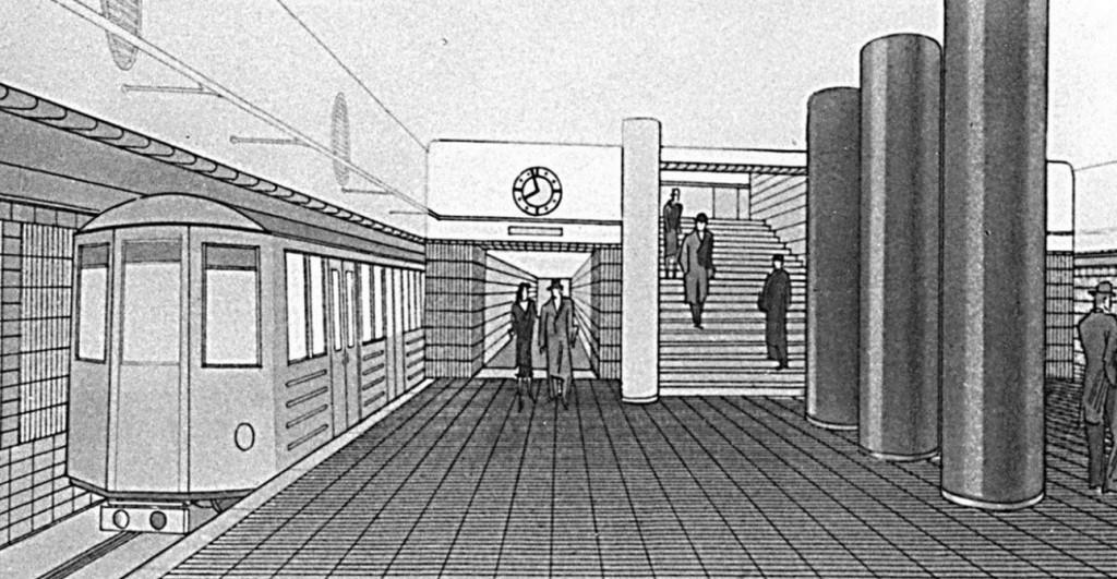 Projekt M od Konsorcia sdružených firem. Trať A Dejvice–Pankrác ve fází prováděcího projektu. Stanice Můstek (1941)