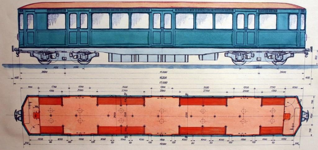 Návrh vagonu metra z roku 1931