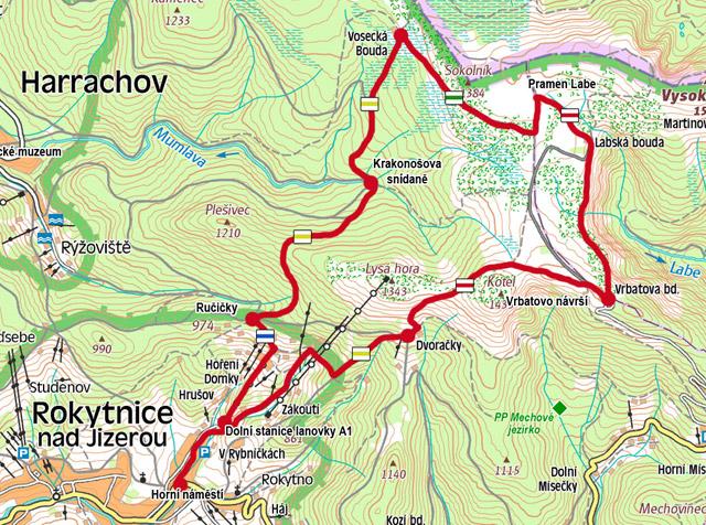 Trasa lanovkou - mapa: www.pramen-labe.cz