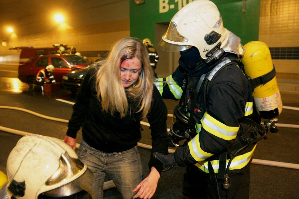 Simulace dopravní nehody v Blance - Foto: Metrostav