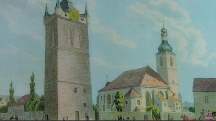 Původní renesanční podoba Jindřišské věže ještě před Mockerovou přestavbou