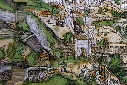 Na výřezu vidíme přibližnou podobu původní gotické brány oddělující dnešní Smíchov a pražský Újezd