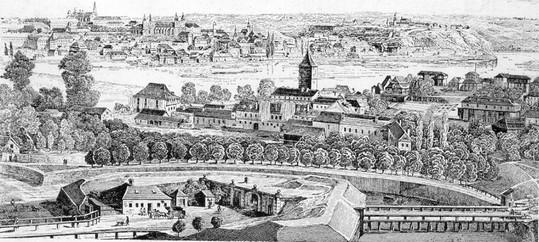 První smíchovská brána rytina z roku 1865