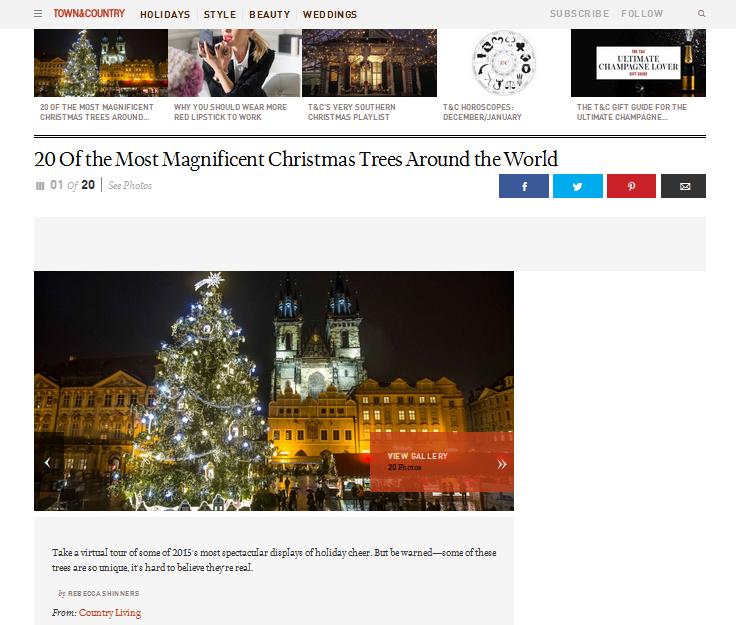 """Jako úvodní fotografii k článku """"20 Of the Most Magnificent Christmas Trees Around the World"""" vybral web Town & Country snímek vánočního stromu ze Staroměstského náměstí! - Zdroj: www.townandcountrymag.com"""