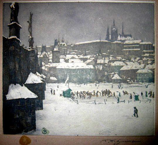 Kluziště pod Karlovým mostem 1916 Foto: Tavík František Šimon (1877-1942) Ice Rink under the Charles Bridge, 1916