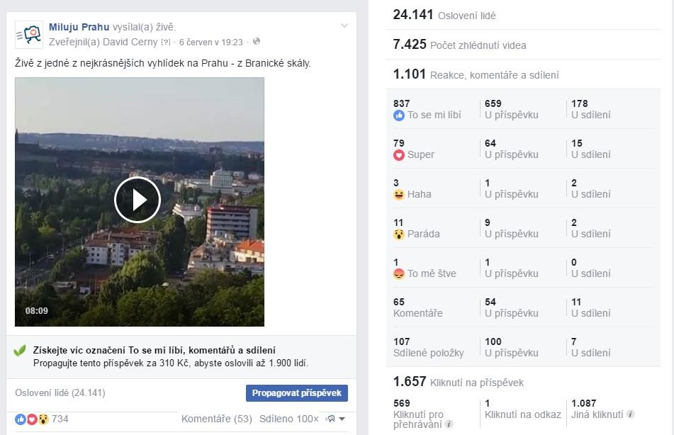 Facebookové statistiky z vysílání z Branické skály