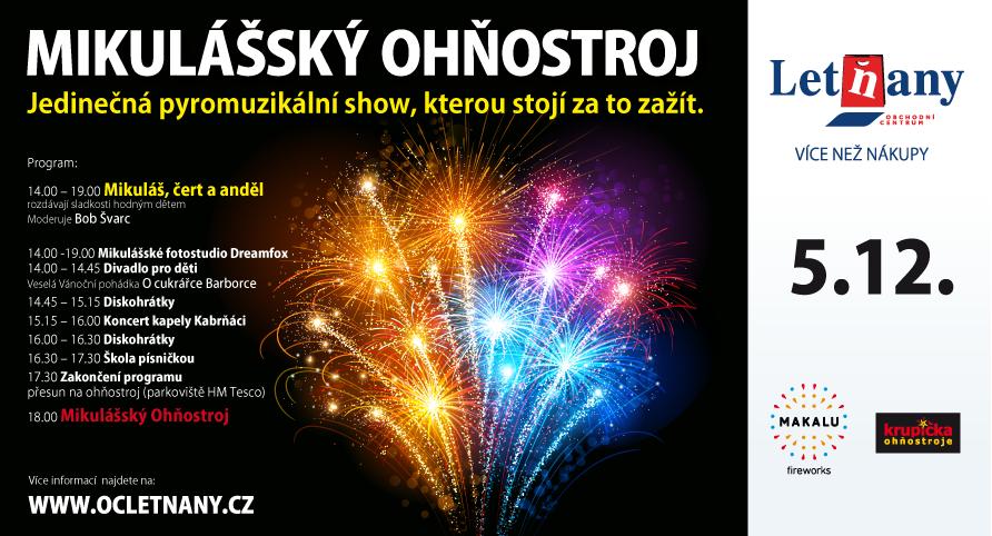 Mikulášský ohňostroj - Zdroj: www.oc-letnany.cz