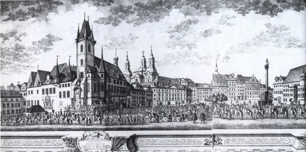 1743 - Slavnostní průvod při příležitosti korunovace Marie Terezie na českou královnu v roce 1743.  -  - Foto vybral a popisky pořídil facebookový profil Staroměstská radnice v Praze