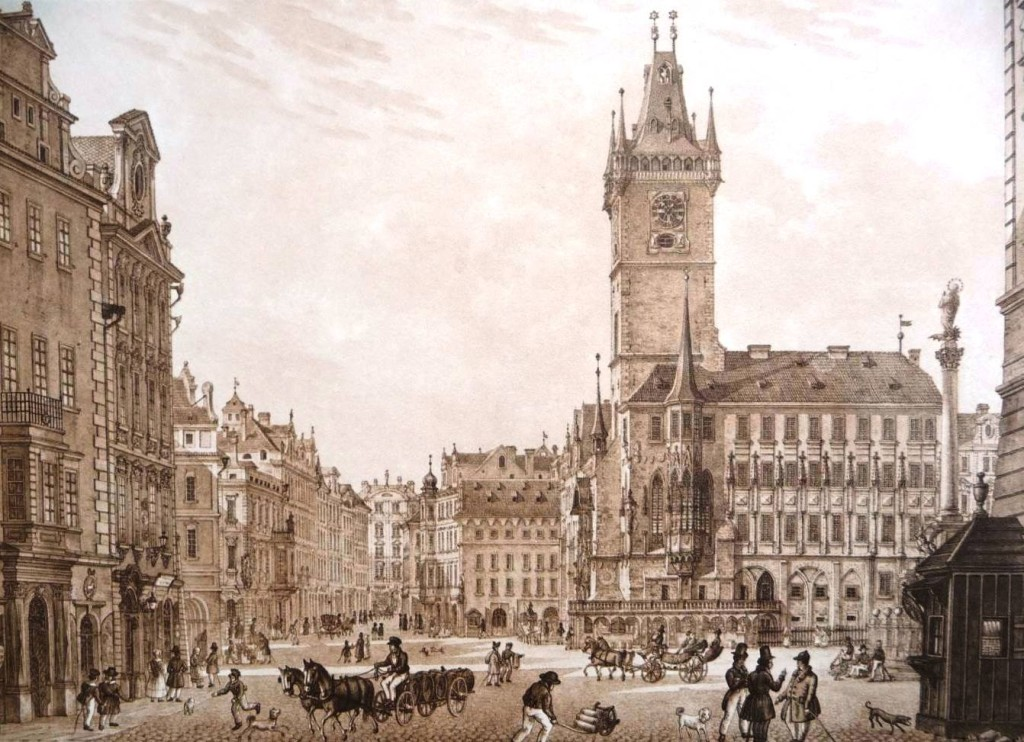 1835 - Staroměstská radnice a její východní gotické křídlo v roce 1835 nedlouho před zbořením - Foto vybral a popisky pořídil facebookový profil Staroměstská radnice v Praze