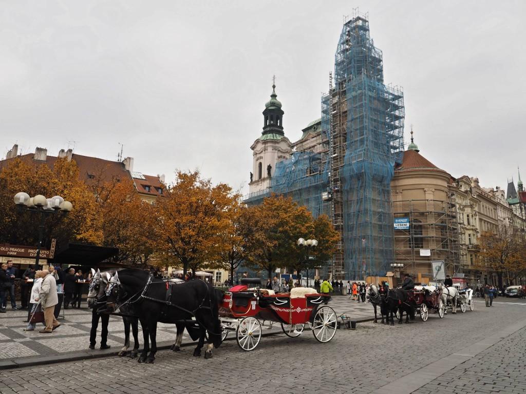 Pobyli jsme na lešení. Staroměstský chrám Sv. Mikuláše. Praha 12.XI.2014 - Foto: Eugen Kukla