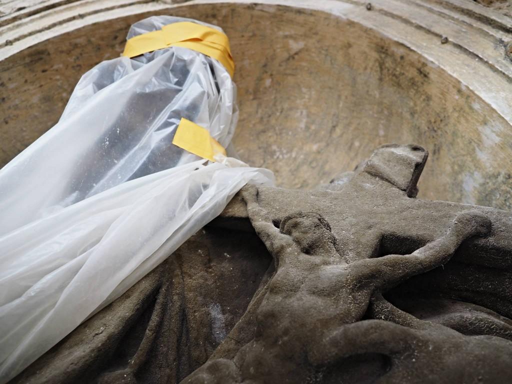 Dřívější replika (na poklep dutá) Sv. Jana Nepomuckého. Sv. Mikuláš staroměstský XI.2014 - Foto: Eugen Kukla