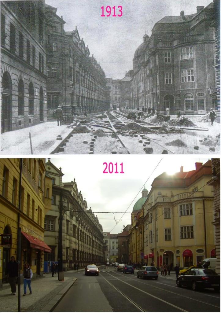 Křížovnická ulice - srovnávaci fotografii vytvořil Václav Víšek - http://srovnavacifotky.blogspot.cz/2014/08/seznam-podle-obci.html