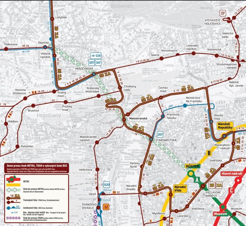 mapka tramvaj