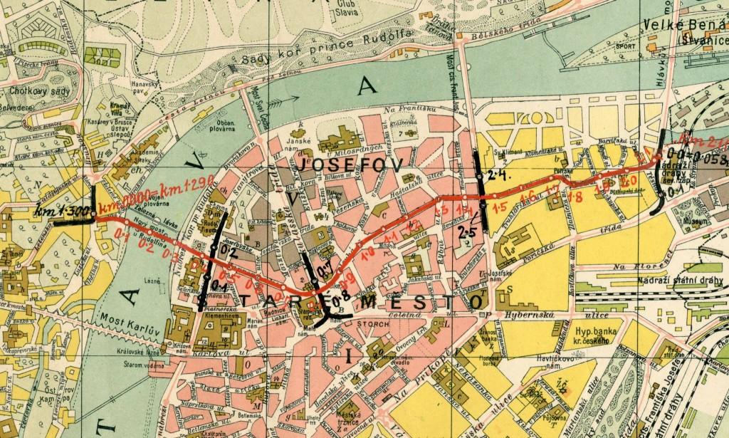 Neuskutečněný návrh kolem roku 1914 na vybudování tramvajové tratě, jež částečně kopíruje dnešní podobu trasy autobusové linky č. 294. Z plánu byla ale realizován jen úsek přes Mánesův most. - čerpáno z facebooku Československý dopravák