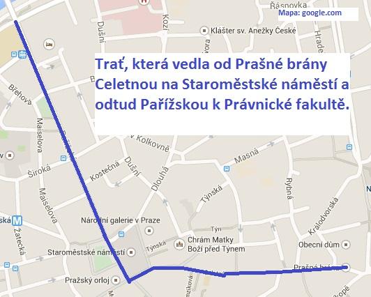 Trať, která byla zrušena 1. ledna 1960 vedla z Celetné ulice přes Staroměstské náměstí do Pařížské - Mapa: google.com