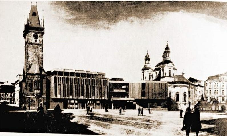 Beton a sklo - Takto si dostavbu radnice představovali architekti Šusta a Vrátník v roce 1969