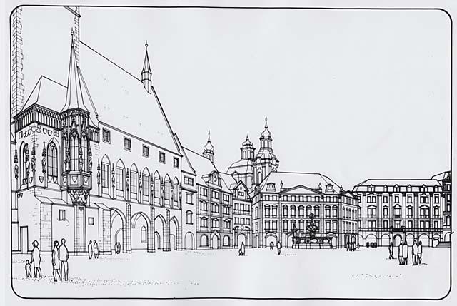 Milan Pavlík, František Kašička, soutěžní návrh dostavby Staroměstské radnice z roku 1987 Celkový pohled na řešení západní strany Staroměstského náměstí s Krennovým domem