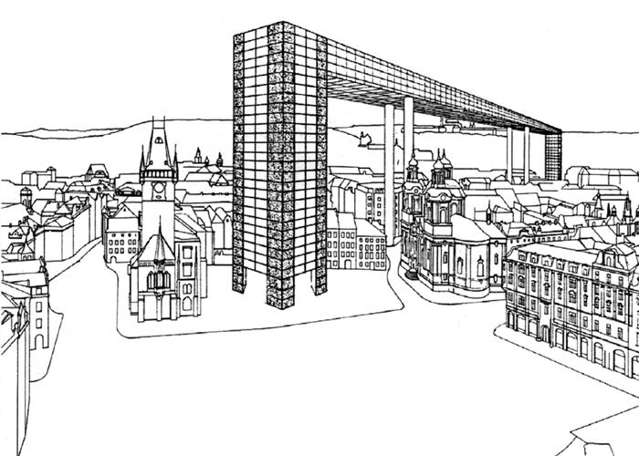 Mimosoutěžní ideový návrh Milana Knížáka z let 1987–88 Vyhlídkový most přechází až na náměstí Jana Palacha