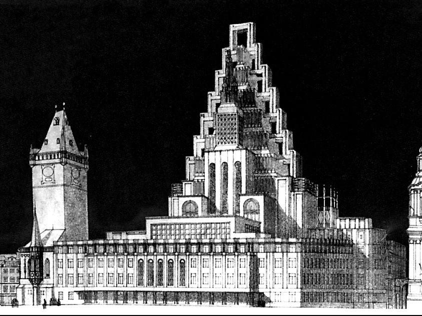 Návrh na dostavbu podle architekta Gočára z roku 1909
