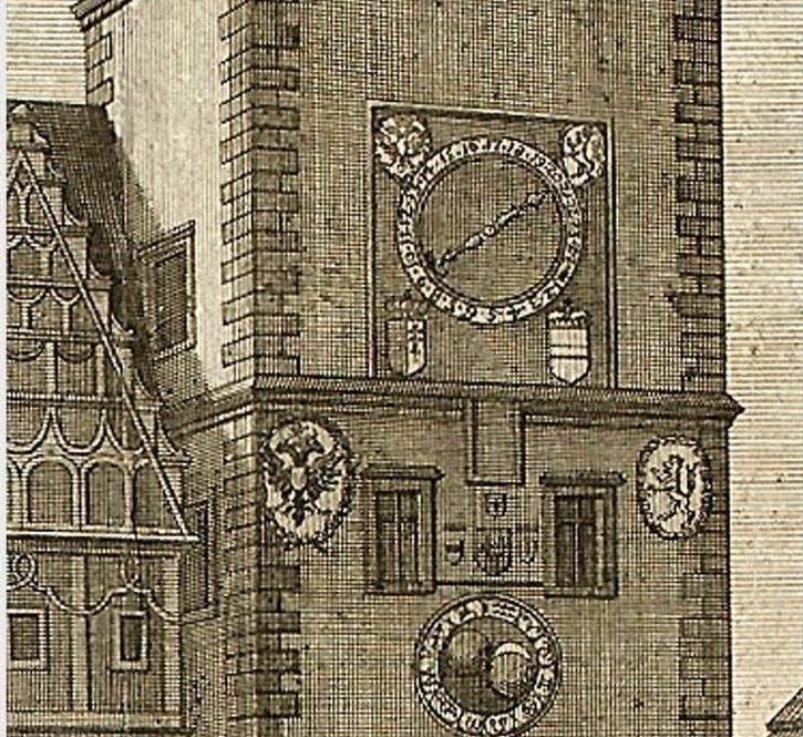 Podobru orloje zachytil J. J. Dietzler při zobrazení císařského průvodu v roce 1743