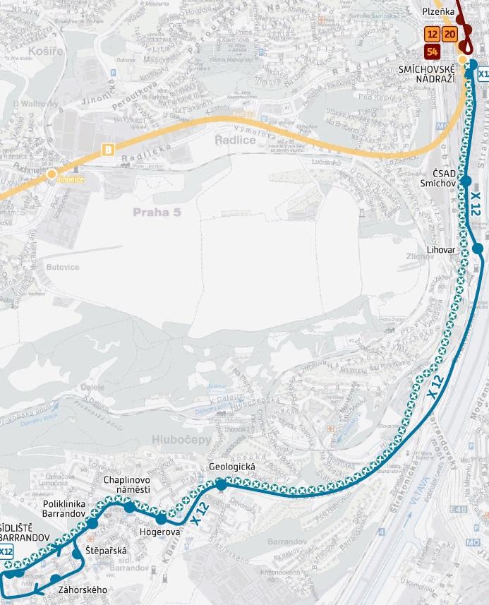 Mapa: DPP hl. m. Prahy