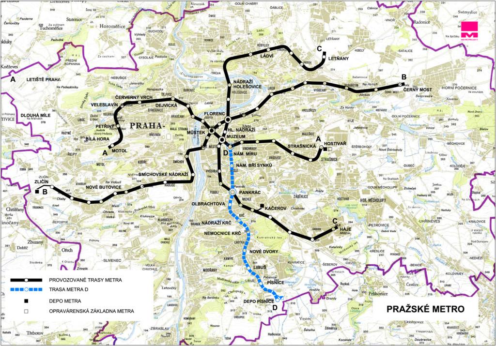 Mapa nové trasy D