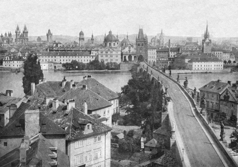 Na panoramatu z roku 1856 je Staré město. - Foto: Andreas Groll