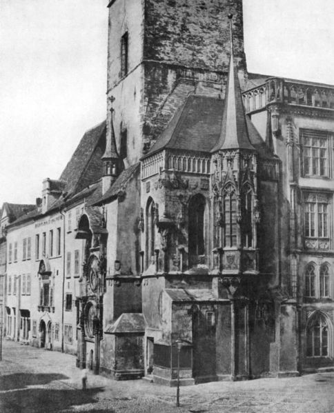 Staroměstská radnice v roce 1856 s detailem orloje. - Foto: Andreas Groll