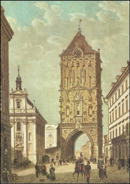 Prašná brána před regotizací v roce 1850 s ještě stojícím kostelem svatého Ambrože v místech dnešního Obecního domu