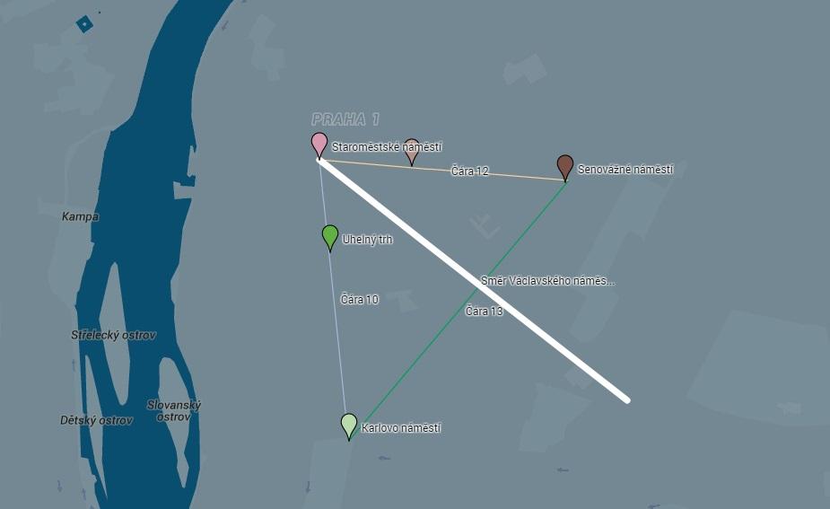 Rovnoramenný trojúhelník s osou tvořenou Václavským náměstím protíná pět nejdůležitějších pražských středověkých náměstí: Staroměstské, Karlovo, Senovážné a Ovocný a Uhelný trh. - Mapa: Google