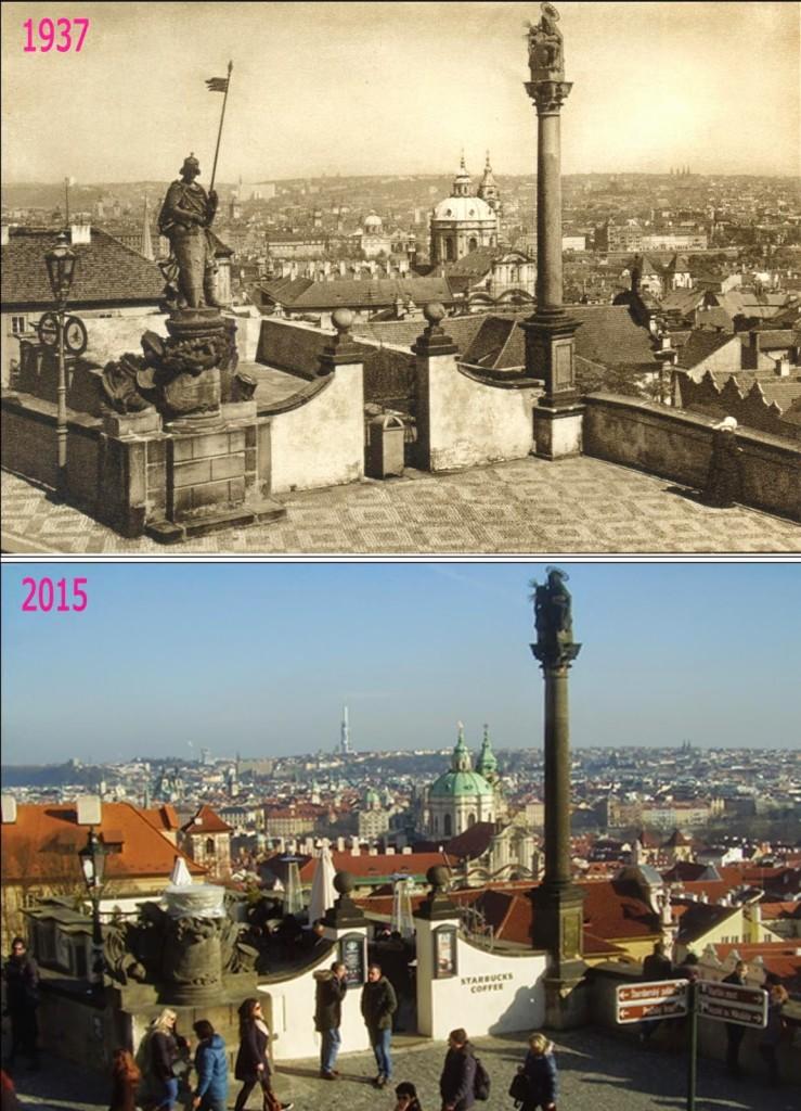 Hradčany, pohled na Prahu – Foto a koláž: Václav Víšek