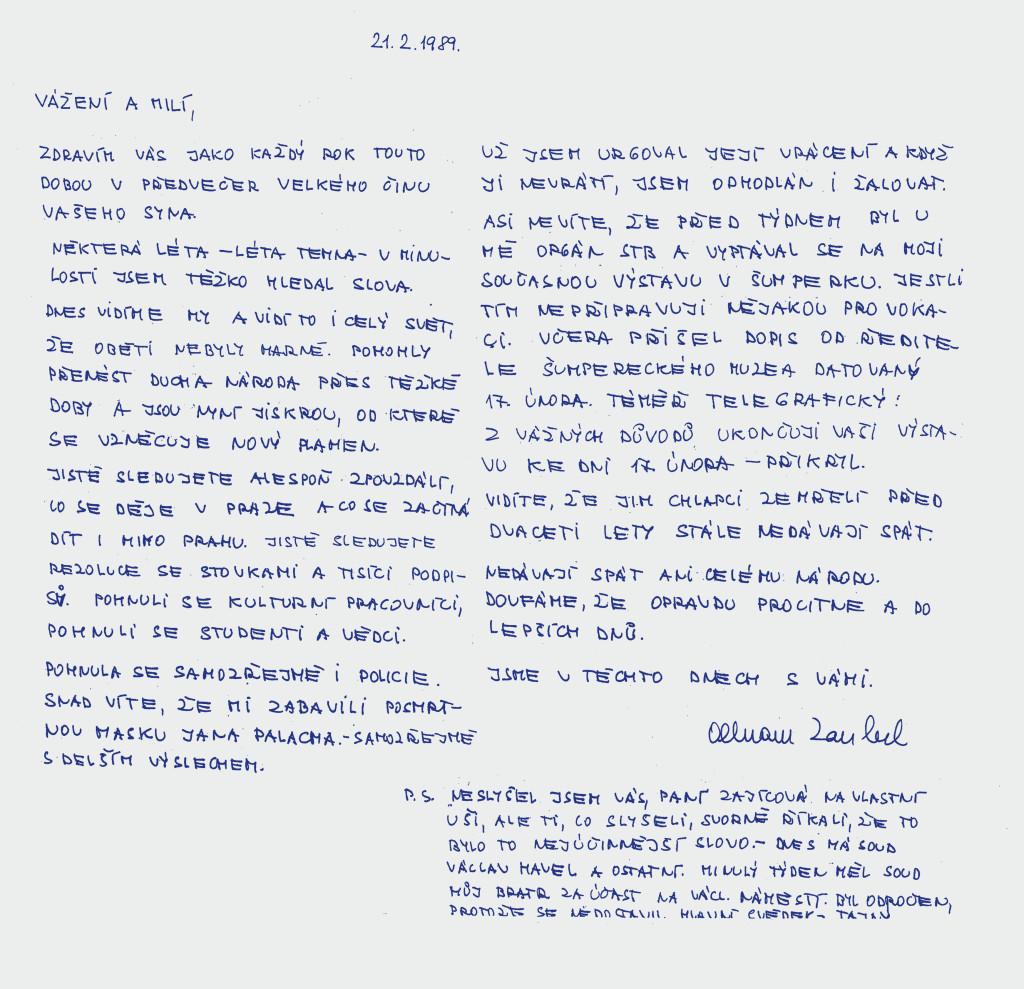 Dopis Olbrama Zoubka rodině Jana zajíce, 21. února 1989