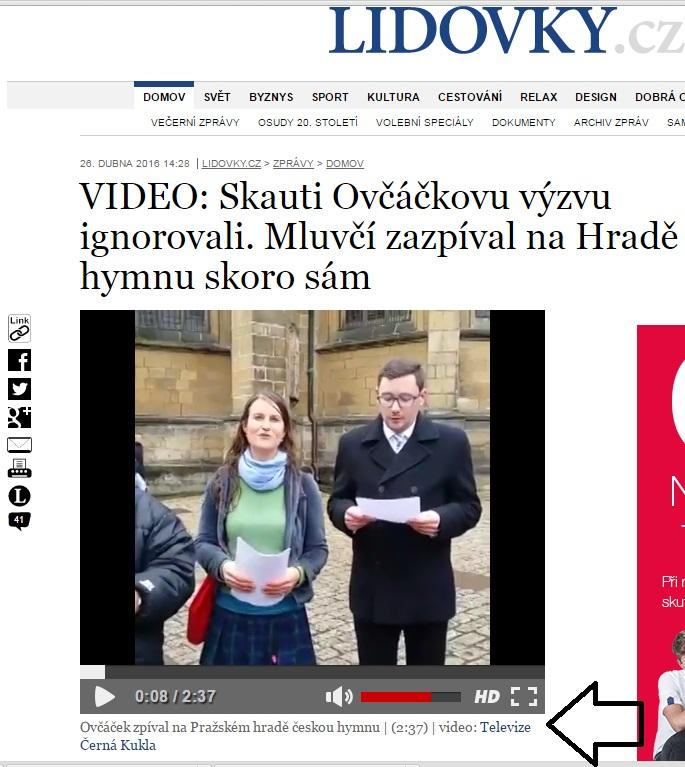 Lidovky.cz vysílají video Televize Černá Kukla - Repo: Facebook Televize Černá Kukla