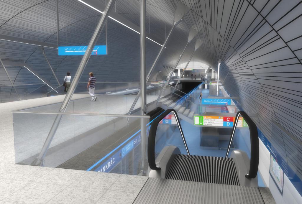 Návrh podoby stanice trasy D na Pankráci – Vizualizace Metroprojekt