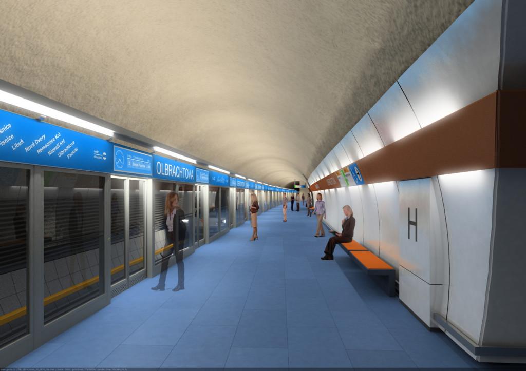 Návrh podoby stanice trasy D Olbrachtova – Vizualizace Metroprojekt