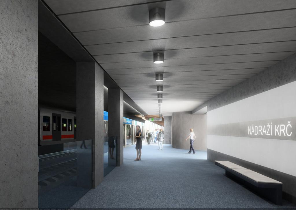 Návrh podoby stanice trasy D Nádraží Krč – Vizualizace Metroprojekt