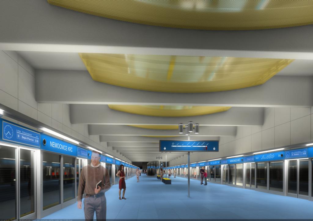 Návrh podoby stanice trasy D Nemocnice Krč – Vizualizace Metroprojekt