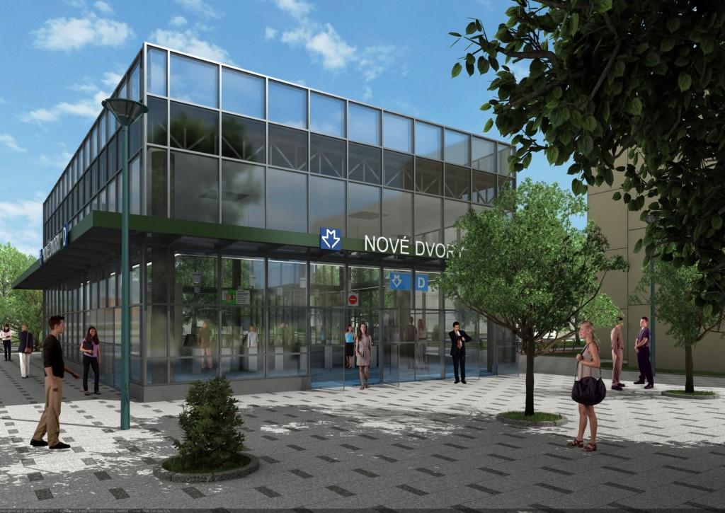 Návrh podoby stanice trasy D Nové Dvory – Vizualizace Metroprojekt