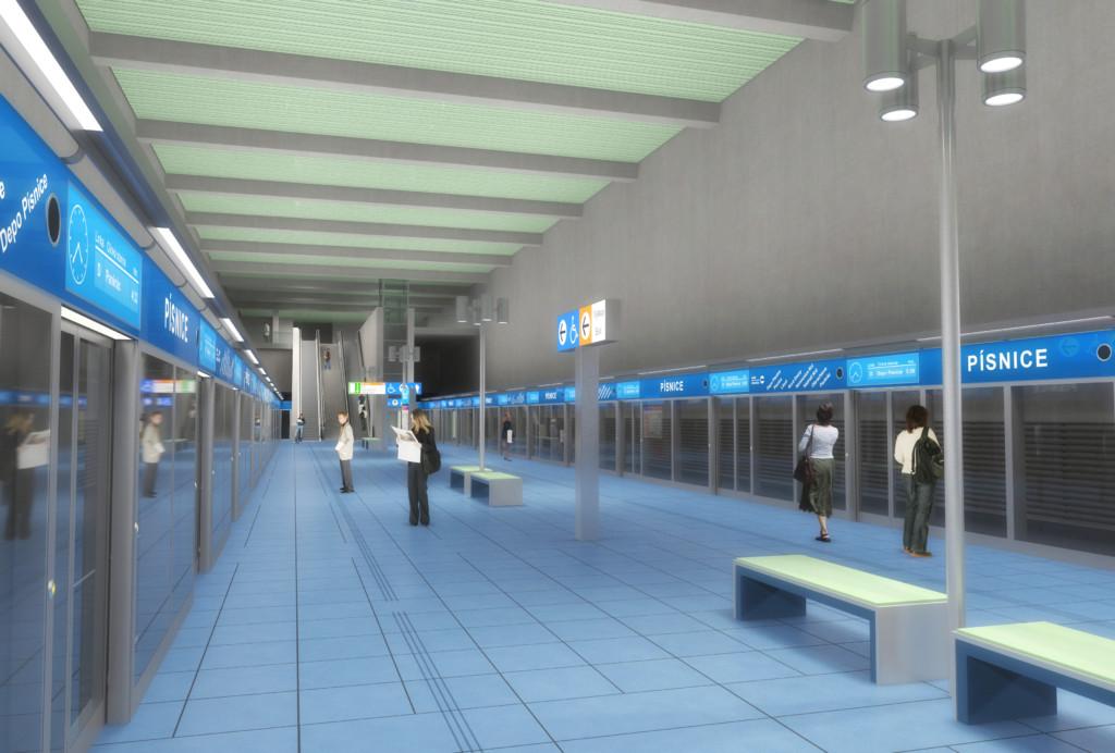 Návrh podoby stanice trasy D Písnice – Vizualizace Metroprojekt