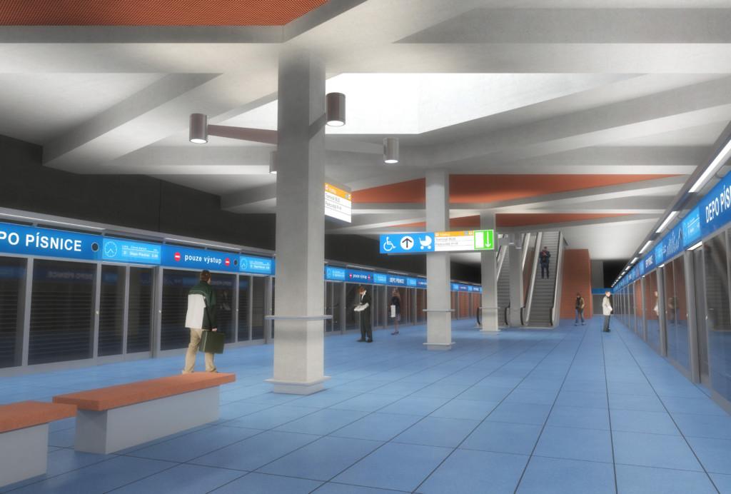Návrh podoby stanice trasy D Depo Písnice – Vizualizace Metroprojekt