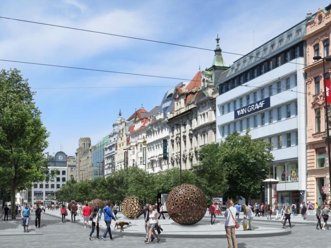Pohled od Vodičkové na spodní část Václavského náměstí - - Vizualizace: web ciglermarani.cz