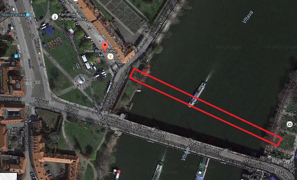 Umístění Rudolfovy lávky - Mapa: Google