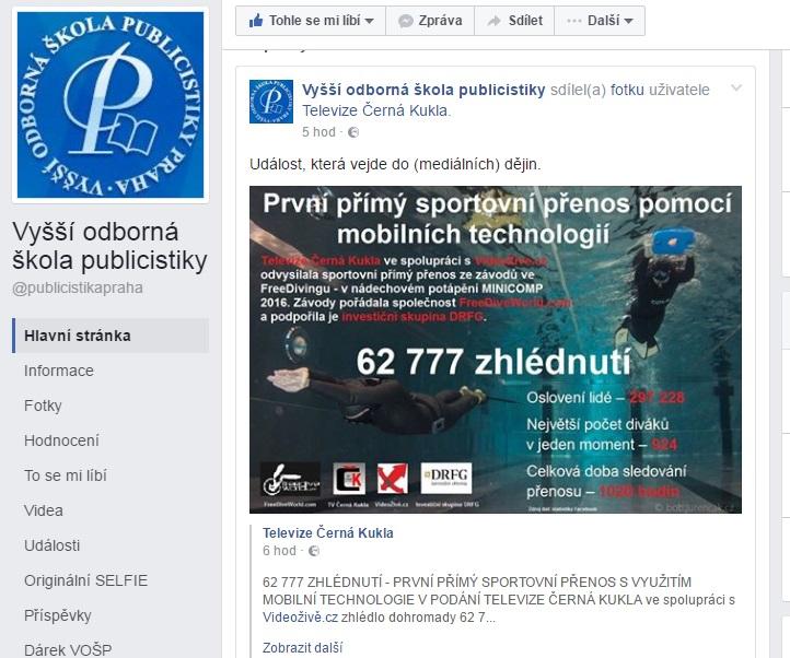 Vyšší odborná škola publicistiky označila na svém facebooku toto vysíláni za událost, která vejde do (mediálních) dějin. - Screenshot z facebooku VOŠP